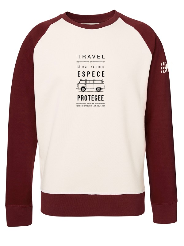 Sweat bicolore Unisexe blanc et bordeaux vintage
