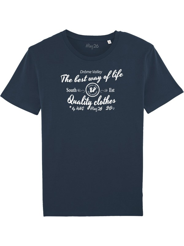 "T-shirt bleu marine ""best way of life"""