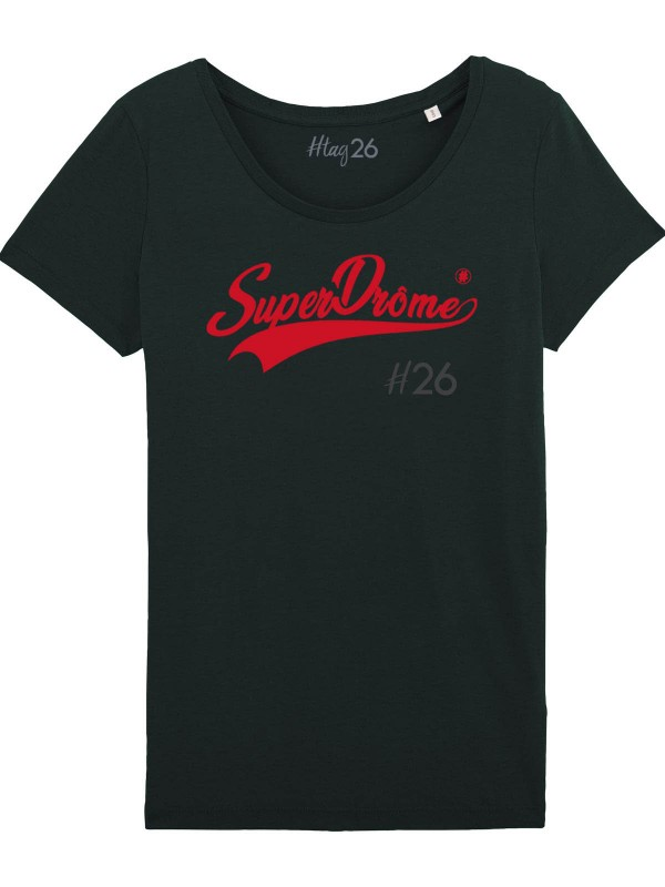 "T-Shirt noir ""SuperDrôme"" col large."