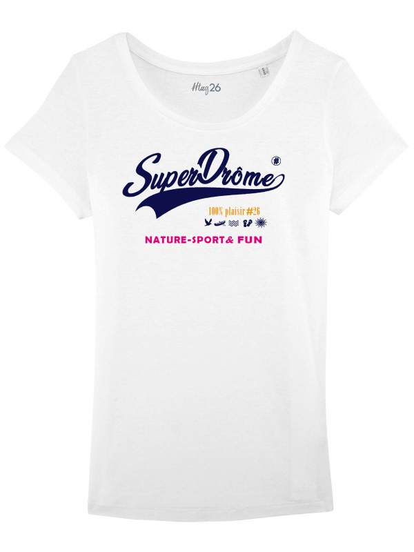 "T-Shirt blanc ""SuperDrôme"" col large."